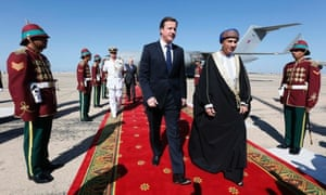 British Prime Minister David Cameron is met by Oman's Deputy Prime Minister for the Council of Ministers, Sayyid Fahd bin Mahmoud al-Said on his arrival in Muscat, Oman. Cameron's visit to Oman comes as BAE systems have agreed a £2.5 billion deal with Oman for 12 Typhoon fighter jets and eight Hawk aircrafts. Read more on the story.