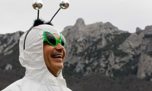 A man in fancy dress stands in the village of Bugarach in Southern France, 21 December 2012. EPA/GUILLAUME HORCAJUELO