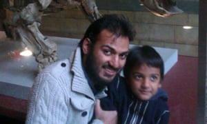 Dr Abbas Khan, pictured with his son, went missing in Syria after travelling to Aleppo.