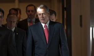 Speaker of the House John Boehner walks to a news conference