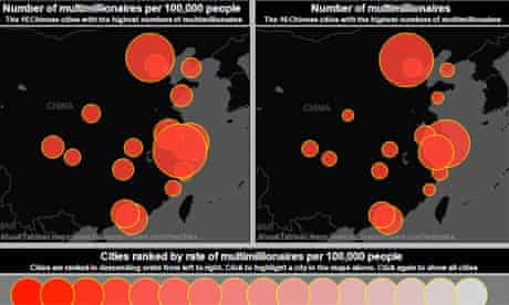 Screengrab of China multi-millionaires mapped