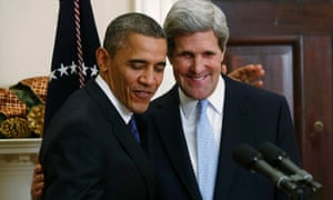 Barack Obama embraces John Kerry after announcing nomination as US Secretary of State