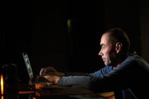 Living in a freezer: Ervin Koppel uses a laptop
