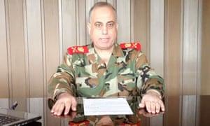 Syrian General Abdelaziz Jassim al-Shalal, making a statement for his defection