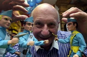 Gerry Anderson: Gerry Anderson with Thunderbirds characters at Hamley's toy store
