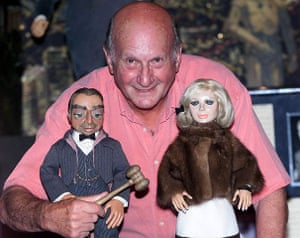Gerry Anderson: Gerry Anderson with puppets Parker and Lady Penelope at an auction
