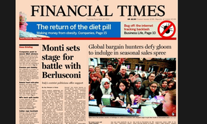 Financial Times front page, December 27 2012
