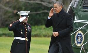 President Obama steps off Marine One
