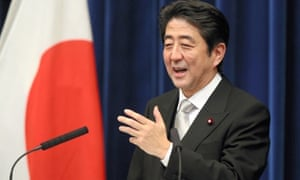 Japan's new Prime Minister Shinzo Abe speaks during a press conference at Abe's official residence on December 26, 2012 in Tokyo, Japan.