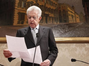 Out going Italian Prime Minister, Mario Monti, talks during his press conference at the Senate, Rome, Italy, 28 December 2012.