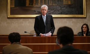 Italy's outgoing Prime Minister Mario Monti speaks during a news conference in Rome December 28, 2012.
