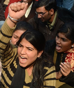 India: Indian protestors shout slogans during a protest