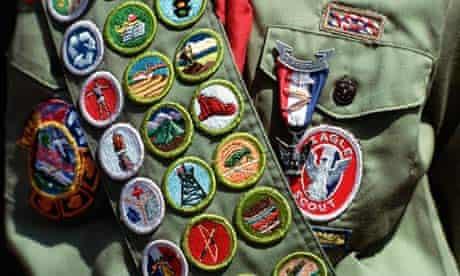 Boy scout wearing badges