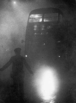 1952 smog crisis: Bus In Smog