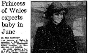 The Guardian's front page story on Diana's pregnancy announcement in 1981.