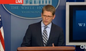 Jay Carney in a White House briefing 3 December 2012, in a screen grab from CNN.