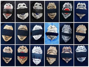 24 hours: Black mourning bands are seen on different fire department badges