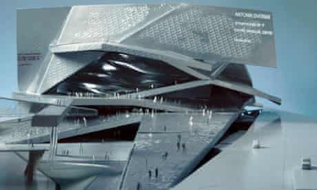 A model of the Philharmonie de Paris concert hall, designed by the French architect Jean Nouvel