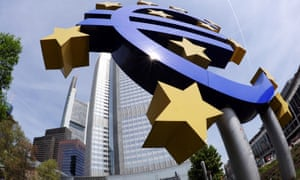A giant symbol of the European Union's currency the Euro stands outside the headquarters of the European Central Bank (ECB) in the central German city of Frankfurt am Main on April 29, 2010.