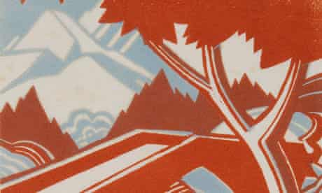 A detail from Leonard Beaumont's Mountain Stream, a linocut from circa 193