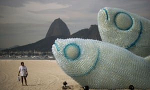 A fish installation made of plastic bottles on the sidelines of Rio+20 Earth Summit