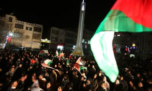 Palestinians celebrate New Year in the West Bank city of Ramallah