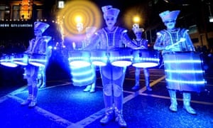 Drumming band Spark during the New Year celebration parade through Newcastle city centre