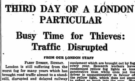 Guardian front page on great smog, London December 1952