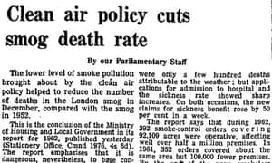 Guardian article on clean air policy reducing death rates 1963