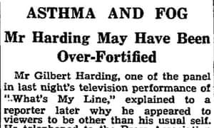 Gilbert Harding tiddly on BBC December 1952