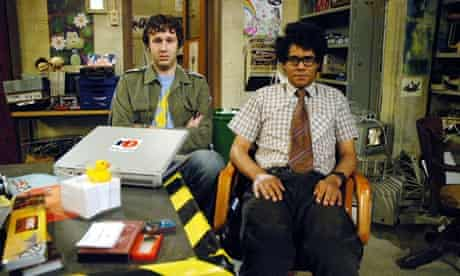 Chris O'Dowd as Roy and Richard Ayoade as Moss in The IT Crowd.