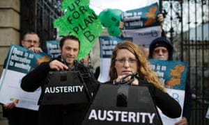 Protestors from 'Claiming Our Future' outside Leinster House, Dublin before handing over a petition to Aiodhan O Rioradan Labour TD calling on the Minister for Finance to introduce a a wealth tax and protect the venerable in society ahead of tomorrow's austerity budget.