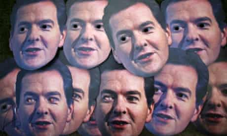 The many face of George Osborne. Masks depicting Chancellor George Osborne are used during a UNISON protest near Parliament in London. The Chancellor is giving his autumn statement later and is expected to say there is no miracle cure to the country economic crisis.