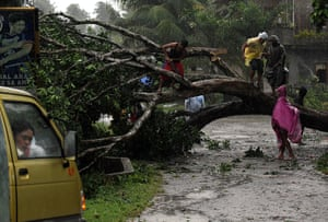 Typhoon Bopha: Residents cut trees that block the road in Mabini