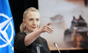 US Secretary of State Hillary Clinton  during a press briefing at Nato's foreign ministers meeting in Brussels.