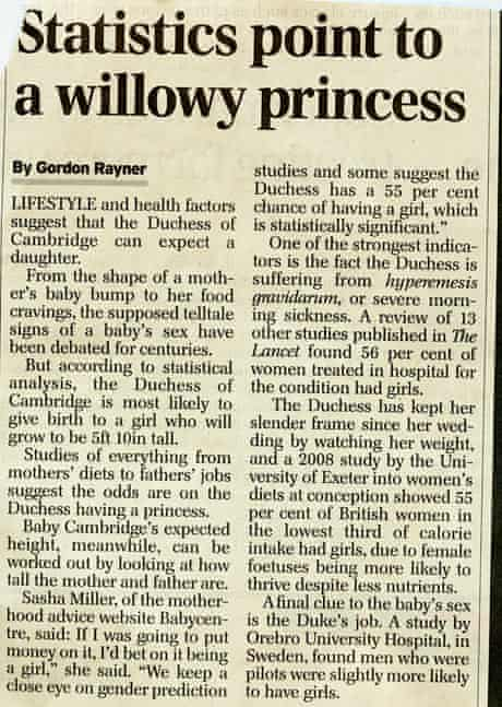 Telegraph story about the royal pregnancy.