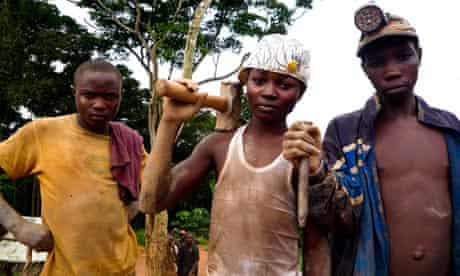 Boys from conflict mineral mine in Congo