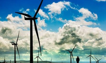 wind farm blue sky