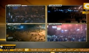 ONTV live video stream of the presidential palace and Tahrir Square, 5 December 2012.