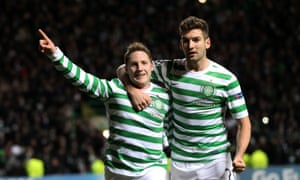 Celtic's Kris Commons celebrates his winner from the spot.