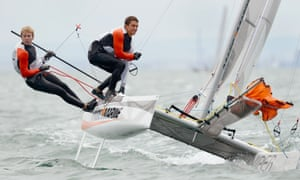 All hands to the starboard side. Brett Goodall and James Wierzbowski of Australia sail through the waves in the Viper class at the ISAF Sailing World Cup event in Melbourne, Australia.