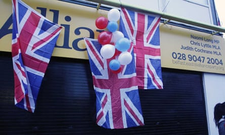Union flags hung at an Alliance office in east Belfast