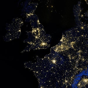 Earth from space: Britain, Ireland and part of western Europe on the night of 27 March 2012