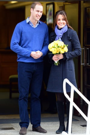 Prince William and Catherine Duchess of Cambridge leaving the King Edward VII Hospital, London.