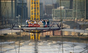 O2 Little Town of Bethlehem. St George's Church Choir from Greenwich perform a series of traditional carols from the top of the O2. The performance marked the start of the centre's festive activities.