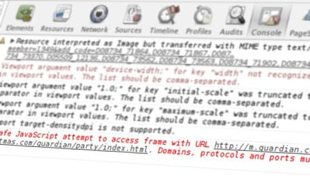 JavaScript warnings and errors running in the console of a web browser