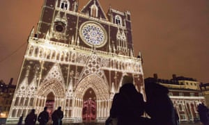 Light fantastic! An installation by artist Damien Fontaine at Les Chrysalides de Saint-Jean Cathedral during the rehearsal for the Festival of Lights in central Lyon, France.