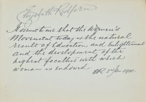 Suffragette letters: Elizabeth Redfern