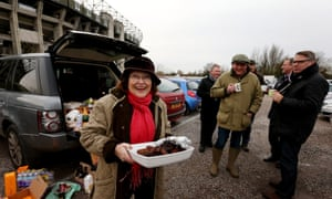 Fans gather for lunch prior to the Varsity Match at Twickenham Stadium.