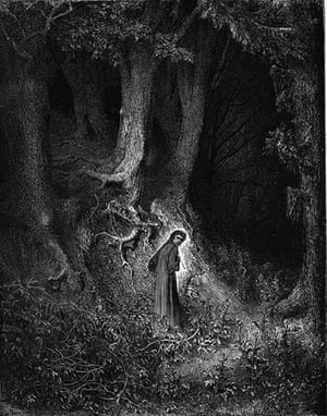 Illustrations: Gustave Dore illustration from the beginning of Dante's Divine Comedy